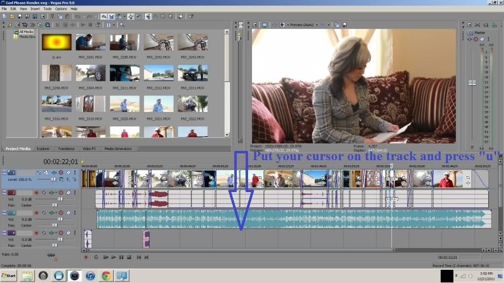 how to separate audio from video sony vegas-0