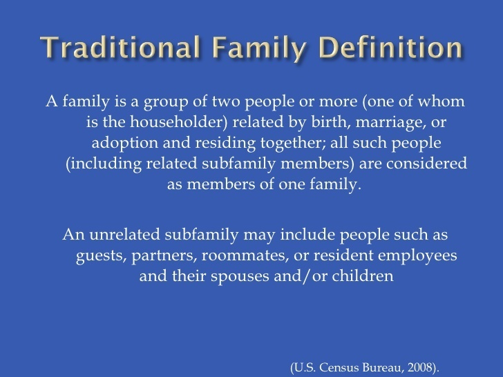 who is more likely to define unrelated roommates as a family?-1